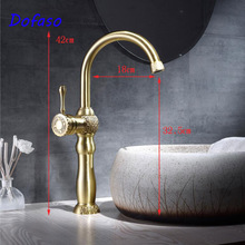 Dofaso antique gold bathroom faucets Solid Brass Bathroom Basin Faucet Cold and hot Water Mixer Single Handle Deck Mounted taps