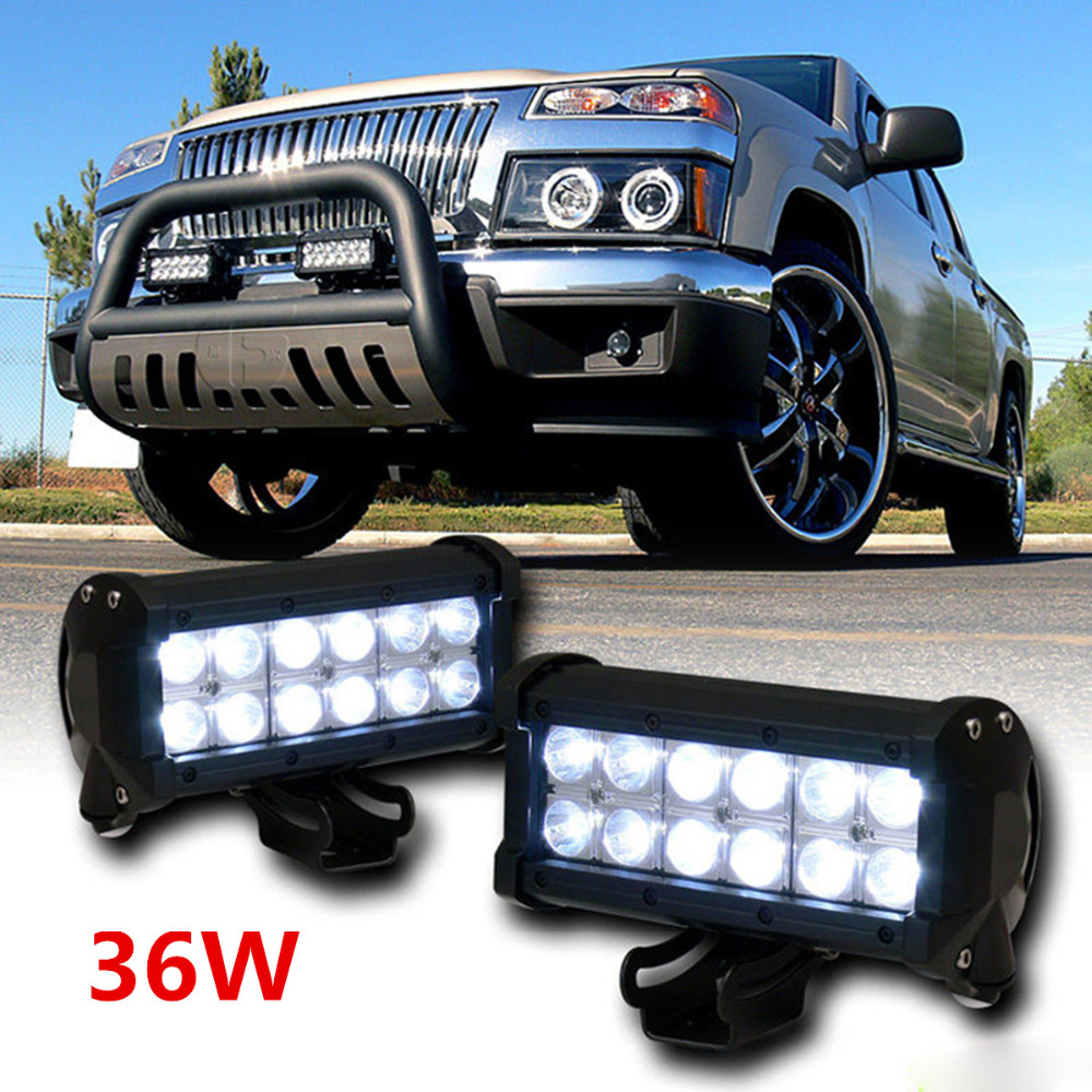 "7"" Inch 36W CREE LED Work Light Bar for Truck Trailer 4x4"