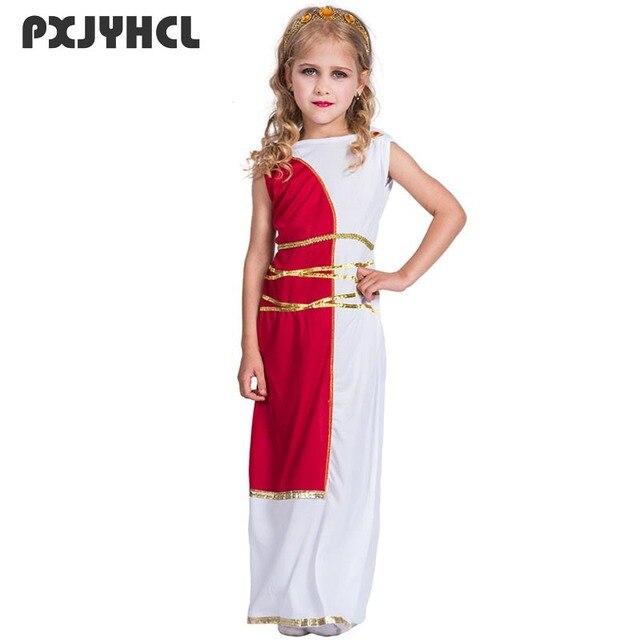 e761ebabf974 Halloween Kid Fancy Greek Goddess Costumes Sleeveless Long Dress With  Headwear Girl Party Cosplay Performance Roman