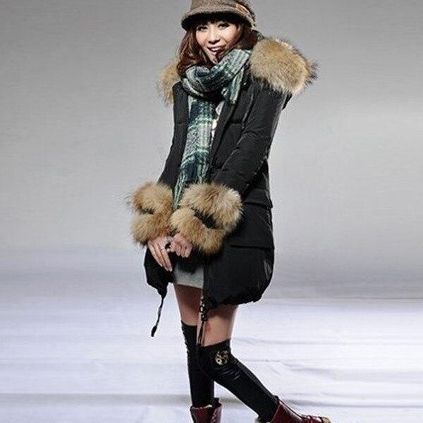 Frauen Verdicken Warme Winter Waschbären Pelzkragen Parka Mantel Hoodie Lange Jacke Oberbekleidung...