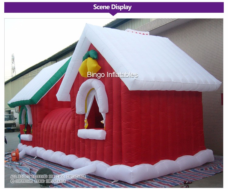 Pretty outdoor inflatable christmas house, inflatable christmas cabin (2)
