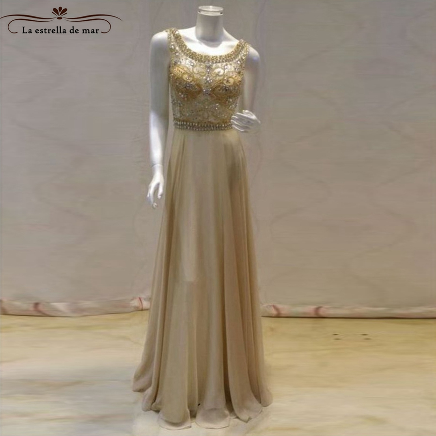 Abendkleider 2018 new lace crystal back open a line champagne evening gown long real pic ...