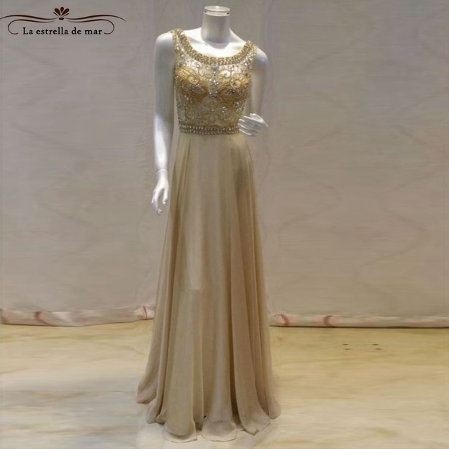 Abendkleider 2018 new lace crystal back open a line champagne ...