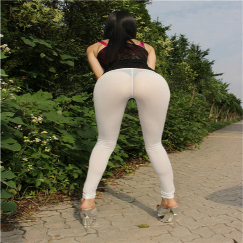 Women Sexy Leggings Pencil Slim Fit See Through New Summer Solid Color Transparent Hot Erotic Elastic New 2019 Ice Silk Soft