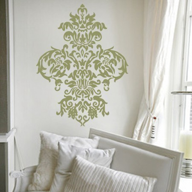 Free Shipping Large Damask Vinyl Wall Decal Art Baroque Sticker