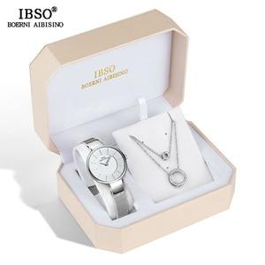Image 2 - Conjunto de reloj IBSO para mujer, conjunto de collar y pendientes a la moda, conjunto de joyería para mujer, reloj de cuarzo creativo, regalo para mujer