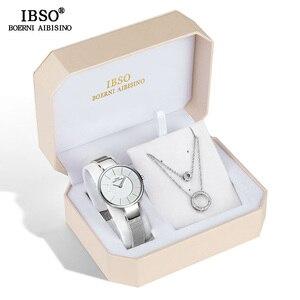 Image 2 - IBSO Marka kadın saat seti Moda Küpe Kolye saat seti kadın mücevheratı Seti Moda Yaratıcı quartz saat eşi Hediye