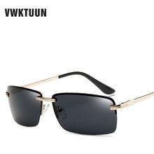 VWKTUUN Polarized Sunglasses Men Driving Sunglass Rimless Glasses Vintage Sun glasses For Men Rectangle Fishing Mirror Oculos