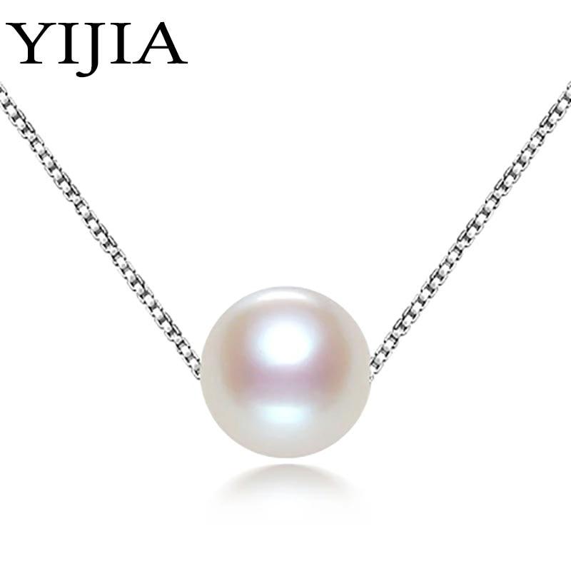 YIJIA μοντέρνα τέλεια γύρο φυσικό μαργαριτάρι κολιέ όμορφη αλυσίδα ... b86ca5ef913