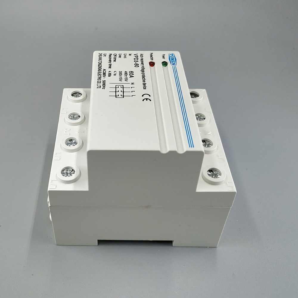 60A 380V ~ relais de protection contre les surtensions et les sous-tensions à récupération automatique à quatre fils Din