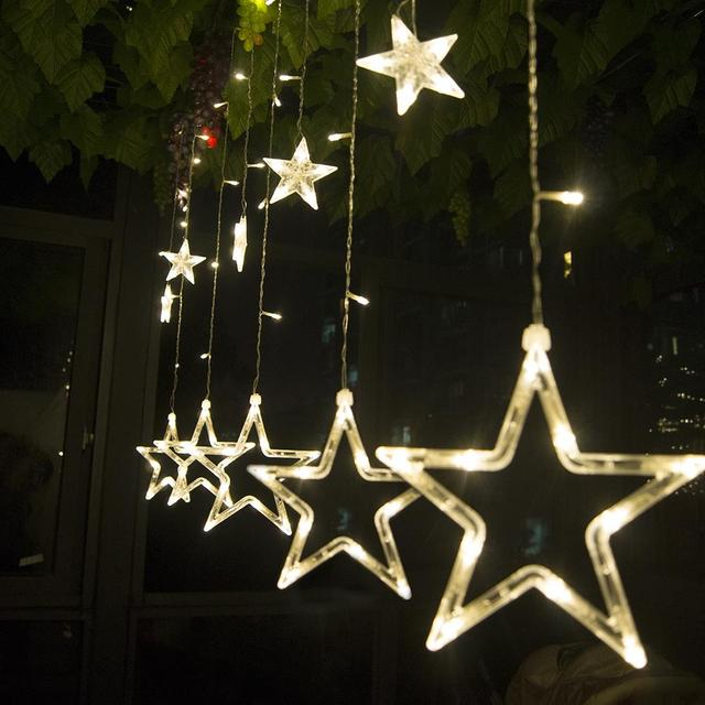 Led Star Lights Pentagram Decorative Light 12 Curtain Flash Lamp Set Interior Decoration Christmas