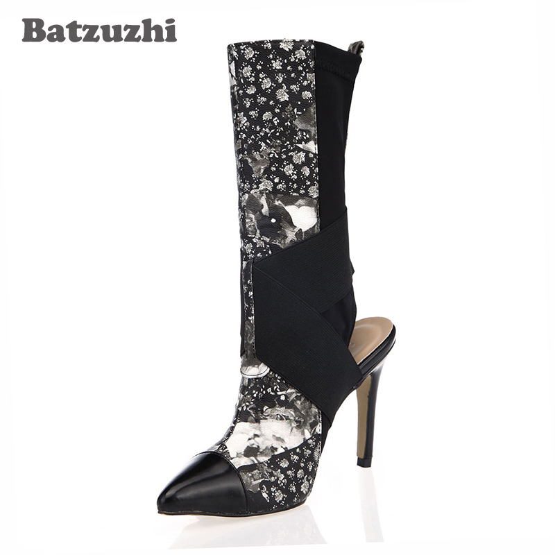 Batzuzhi-2018 New Arrival Hot Women Shoes Black Suede Cross Strap Pointed Toe SlingBack Fashion Women Boots Mid-calf Size 35-43 new arrival superstar genuine leather chelsea boots women round toe solid thick heel runway model nude zipper mid calf boots l63