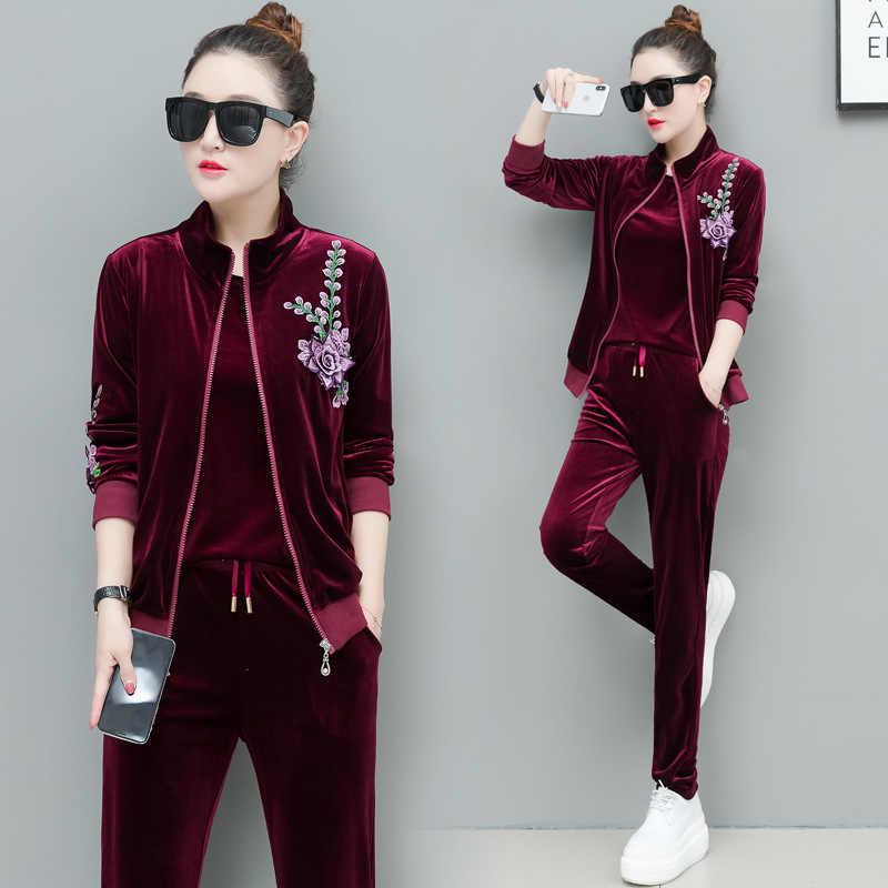 0537dbdc0e89 Вельветовый комплект Демисезонный 3 предмета Для женщин спортивный костюм  модная куртка и футболка и длинные брюки