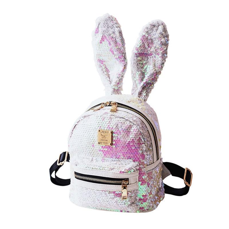 WULEKUE Polyester Sequins Rabbit backpack school bags shoulder bag for Teenagers