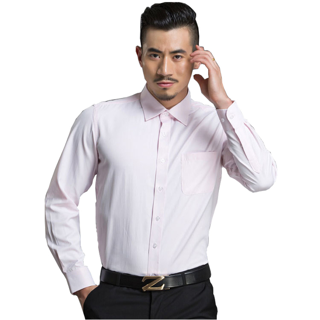 Plus Size M-4XL Men's Fashion Clothing Solid Pink Casual Shirts Long Sleeve Work Wear Business Formal Shirts Slim Camisa Hombre
