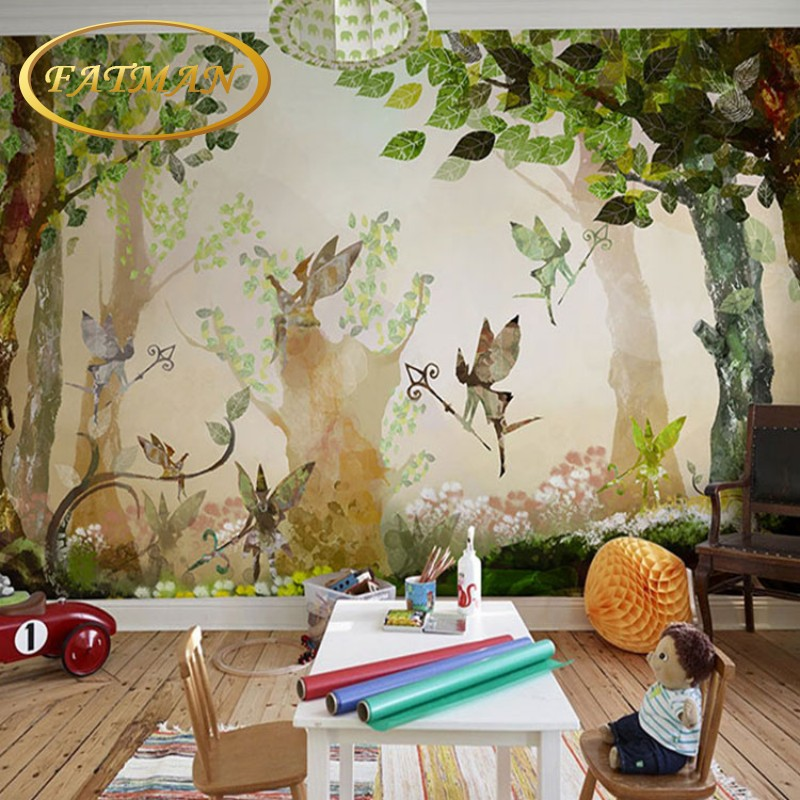 Custom Photo Wallpaper Cartoon Forest Flower Fairy