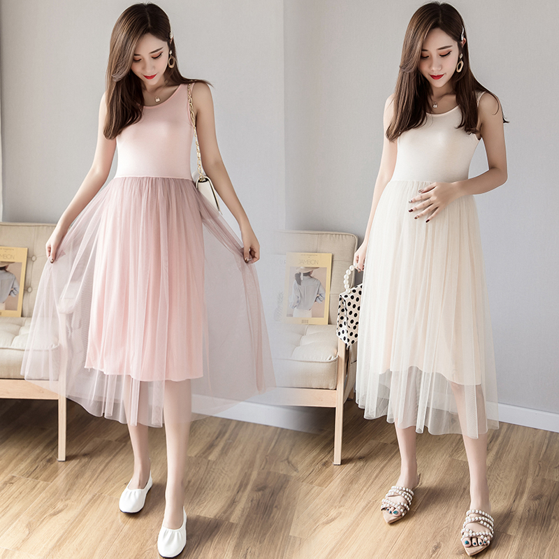 6616# Modal Patchwork Gauze Maternity Dress Charming Slim Skirt Clothes for Pregnant Women Summer Tank Pregnancy Bottoming Dress6616# Modal Patchwork Gauze Maternity Dress Charming Slim Skirt Clothes for Pregnant Women Summer Tank Pregnancy Bottoming Dress