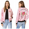 2016 Fashion Pink Bomber Jacket for Women Embroidery Letters and Floral Rose Jacket 1654