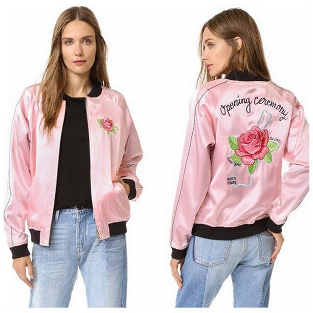 comprar popular d929e 77a29 € 40.51 |2016 de La Moda Rosa Chaqueta Bomber Jacket para la Mujer Bordado  Cartas y Flores Rosa 1654 en Chaquetas básicas de La ropa de las mujeres en  ...