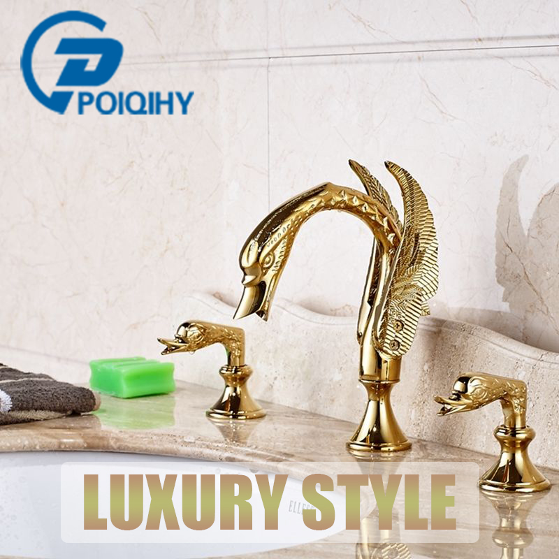POIQIHY Basin/Bathroom Faucet Golden Dual Handles Widespread Triple Holes Basin Faucet Deck Mounted Mixer Tap Bathroom Water Tap chrome polish widespread bathroom faucet basin faucet 3 holes dual handles mixer tap deck mounted bathroom hot