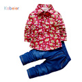 Toddler Boys Clothing Shirt Tie Jeans Fashion Clothing Boys Suits Spring 2PCS Suit Set Flowers Baby Kids Boy Toddler Clothes