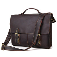 Nesitu Vintage Dark Brown Durable Thick Genuine Leather Men's Briefcase Men Messenger Bags 14'' Laptop Portfolio Handbags #M7090