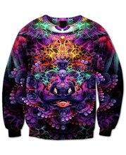 Itrip v-образным вырезом свитер фиолетовый и флуоресцентных цветов психоделический 3d цветочный принт потливость женщины мужчины осень стиль перемычка