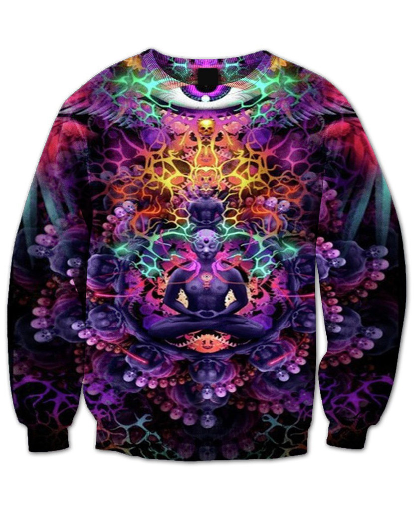 iTrip Crewneck Sweatshirt purple and fluorescent colors psychedelic 3d Floral Print Sweats Women Men Autumn Fall Style Jumper