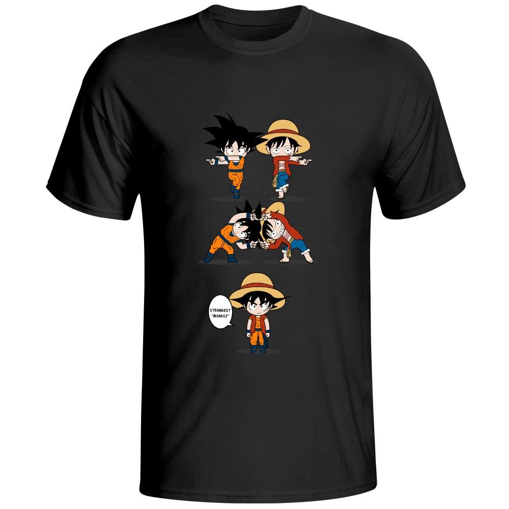 Monkey D Luffy VS Monkey Goku T Shirt Awesome Anime Cool Design T-shirt Dragon Ball Crossover One Piece 100% Cotton Black Tee