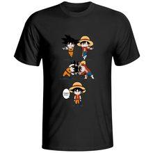 Mono D Luffy VS mono Goku camiseta impresionante Anime fresco diseño camiseta Dragon Ball Crossover una pieza 100% algodón negro camiseta
