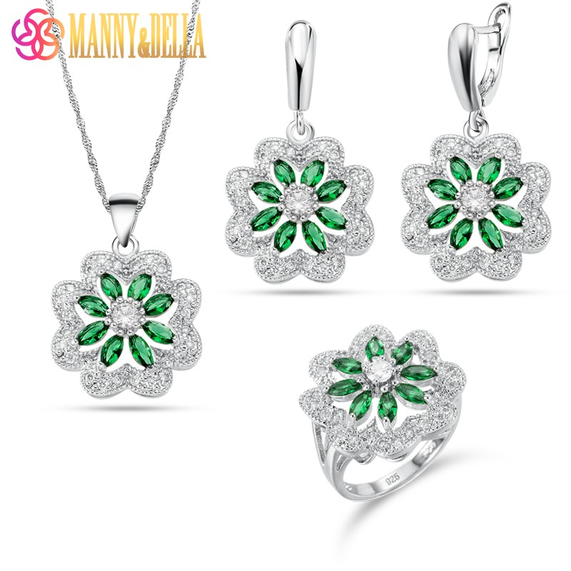 Manny&Della AAA+ Quality Women Green Jewelry Sets 925 Silver Earrings Pendant Necklace Ring Young People Trendy Trinket