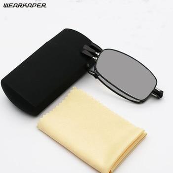 WEARKAPER Mini Transition Sun Photochromic Read Glasses Quality Foldable Reader Folding Reading Glasses Women Men With Case1-3.5