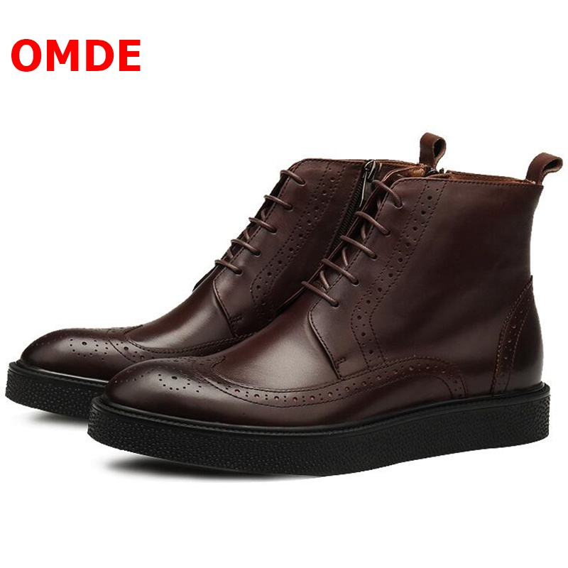 OMDE British Style Business Men Leather Shoes New Style Lace-up Men Boots Vintage Thick Heel Mens Boots Handmade Ankle Boots