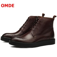 OMDE British Style Business Men Leather Shoes New Lace-up Boots Vintage Thick Heel Mens Handmade Ankle