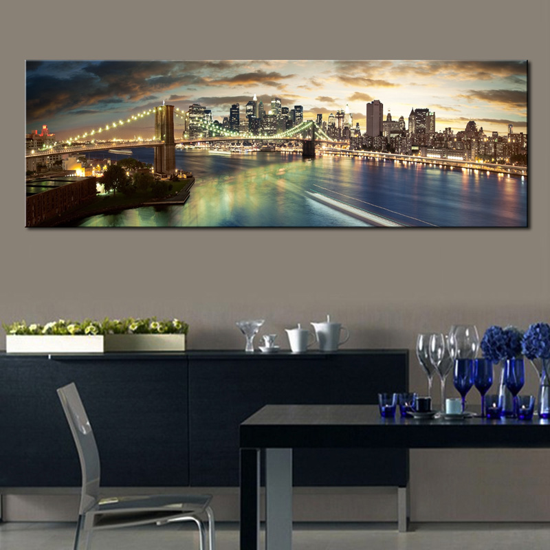 HD Print Long Manhattan New York Poster Brooklyn Bridge Skyline Night Canvas Painting Cityscape Pictures For Bedroom Livingroom