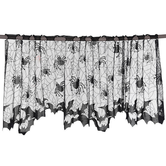 Halloween Knitted Curtain Lamp Cover Black Spider Web Ghost Festival Fireplace Stove Cloth Halloween Party Tablecloth 51*152cm