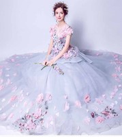 Blue Gray Wedding Luxury Sea of Peony Flower Petal Princess Trailing Dress Evening Party Dress Ball Gown For Women Plus Size 5XL