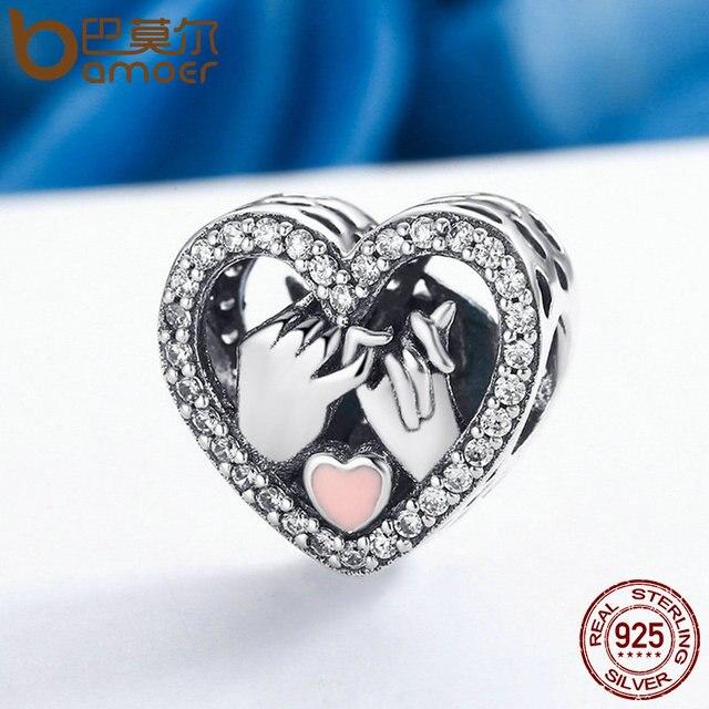 BAMOER Romantico Genuine 925 Sterling Silver Promessa Per Amore Del Cuore misura Branelli Originale Braccialetto di Fascino Gioielli FAI DA TE Regalo SCC167