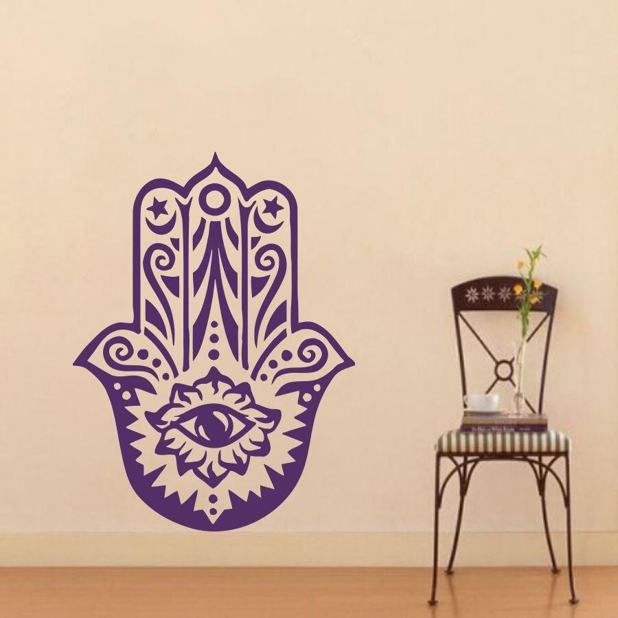 Art New Design Home Wall Stickers Vinyl Decals Yoga Fatima Hand Hamsa Buddha Mural Arabian Lucky Room Yoga Sticker CW 35 in Wall Stickers from Home Garden
