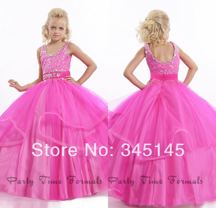 Wonderful Ball Gown Pageant   Girls     Dresses   Floor Length Organza Beaded   Flower     Girls     Dresses   Most Lovely Party Times Formals