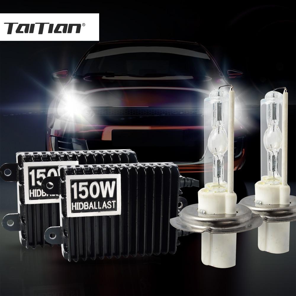 Taitian 2Pcs 150W Halogen Xenon Foglights bulb h11 h1 Hid 12V h7 Car lamp ballast h4 bi xenon projector kit H3 9005 HB3 9006 HB4 new 1set hb3 9005 12v 65w 3000 3500k amber yellow car halogen xenon headlight light bulb lamp with retail box bengear dropship