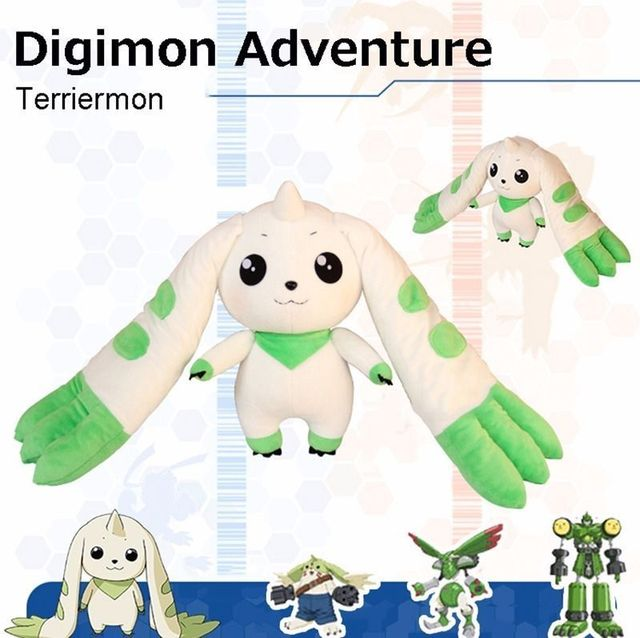 45cm Anime Digimon Adventure Terriermon  Long Ears Plush Doll Toy gift