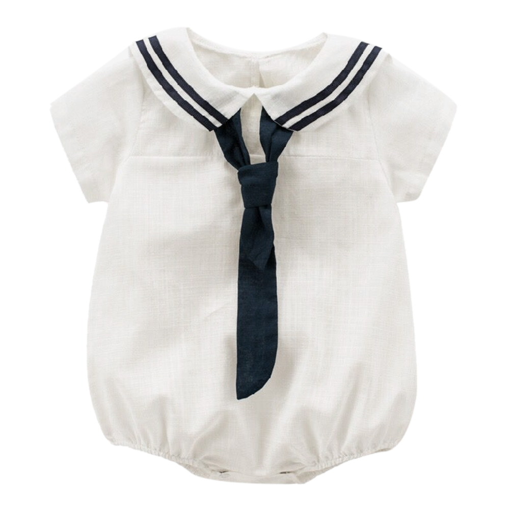 Newborn Baby Boys Naval Style Romper One-piece Summer Clothes Tie Solid Short Sleeve Jumpsuit Romper for 0-24 Month Baby