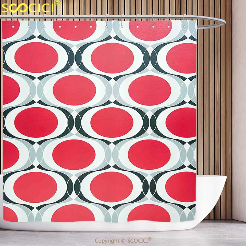 Shower Curtains Home & Garden Fun Shower Curtain Modern Pattern With Red Dots And Black Swatch White Background Geometric Illustration Red Black Silver Fragrant Aroma