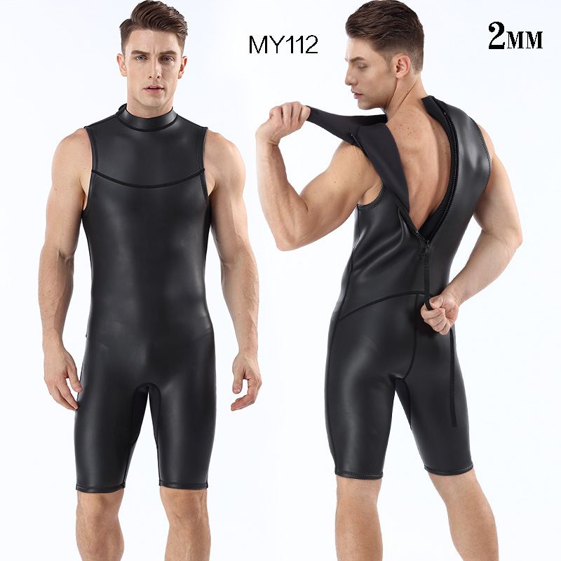 Mens Triathlon Wetsuit 2mm CR Short Sleeveless One Piece Smooth Skin Wetsuits Ultra Elastic Male Anti