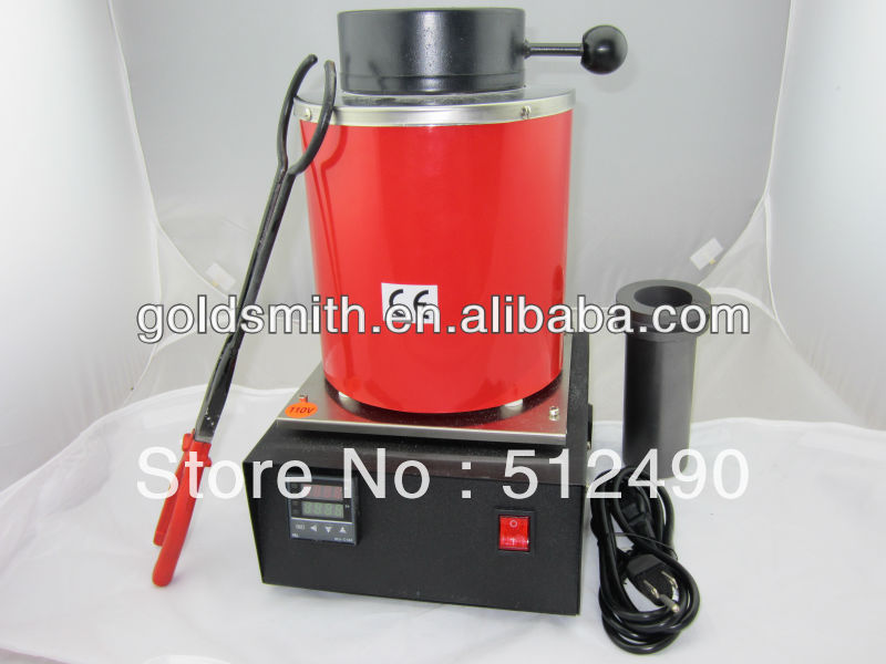 High temperature Small Melting Furnaces, Gold Melting Furnace with 2kg Graphite Crucible 220v