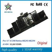 10.26 V 95Wh Véritable Original Nouveau A1494 Batterie D'ordinateur Portable Pour Apple Macbook Pro 15 «A1398 Retina Fin 2013 Mi 2014 ME293 ME294
