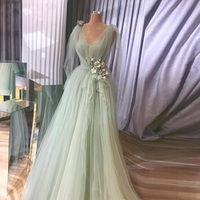 Мятно зеленый Тюль 3D цветок Выпускные платья 2019 элегантное v образным вырезом ТРАПЕЦИЕВИДНОЕ длинное вечернее платье плюс размер женское в