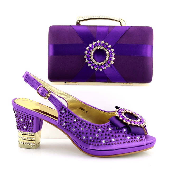 African Shoe and Bag Set Decorated with Rhinestone Purple Color Matching Women Shoes and Bag Set for Wedding Party Shoes and Bag