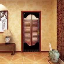 Cowboy Bar Wall Door Sticker Retro Bedroom Home Decoration Imitation 3D Door Paste Wooden Door Decoration